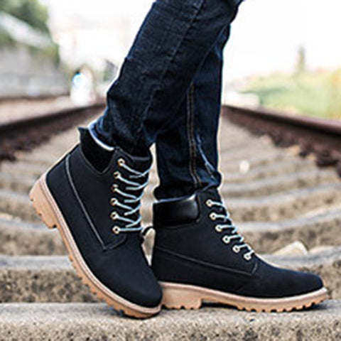 Men Vintage Boots All Season Shoes Slip-On Boots
