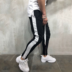 Casual Sports Pants Color Matching Hip Hop Zipper Stitching Trousers