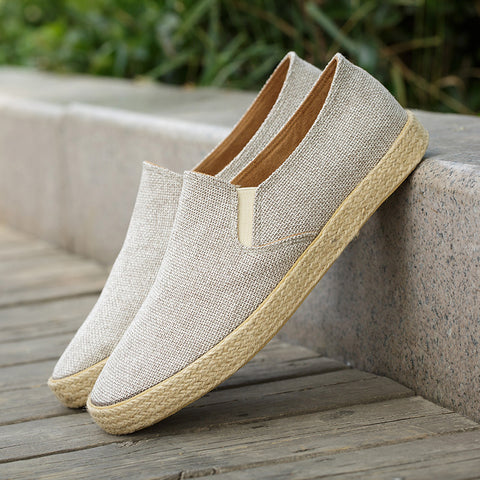 Linen Flat Heel Slip On Loafers Men Casual Round Toe Shoes
