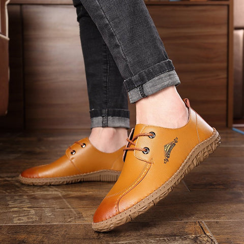 Men Hand Stitching Soft Slip On Casual Leather Loafers