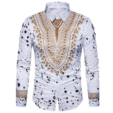 Men's Ethnic Print Casual Long Sleeve Shirt
