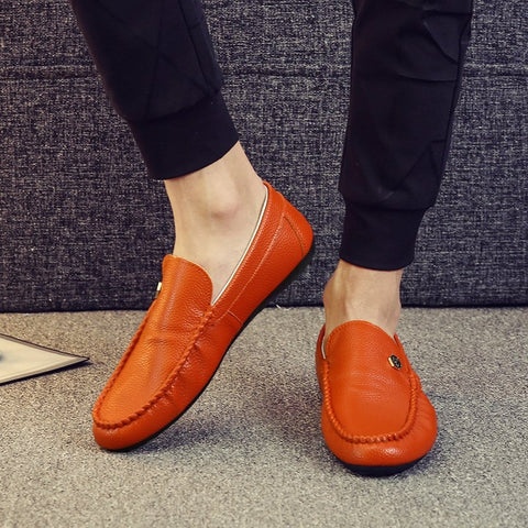 Men Hand Stitching Leather Slip On Soft Causual Driving Shoes