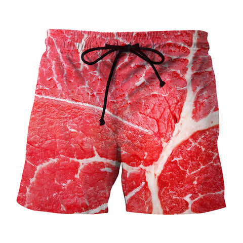 Creative Meat Piece 3D Printing Beach Shorts Men's Casual Swimwear
