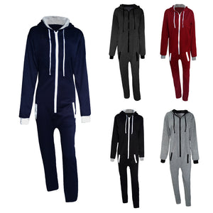 New Men's Fashion Hooded Color Matching Piece Sportswear