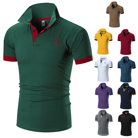 10 Colors Men's Casual T-Shirt Fashion Deer Printed Turn-down Collar Tops Tees