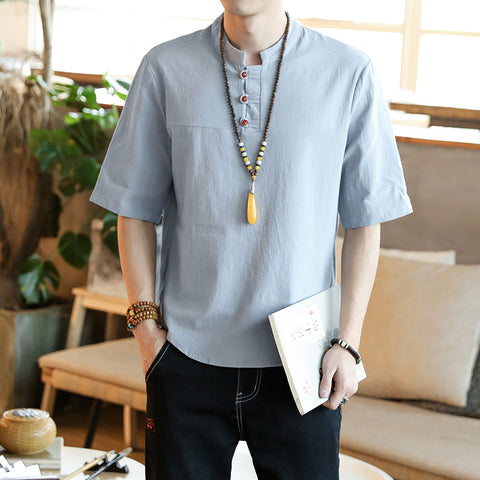 Mens Linen Half Sleeve Round Neck Solid Casual Shirts & Tops