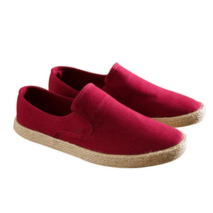 Men Slip On Canvas Flats Casual Flat Heel  Round Toe Shoes