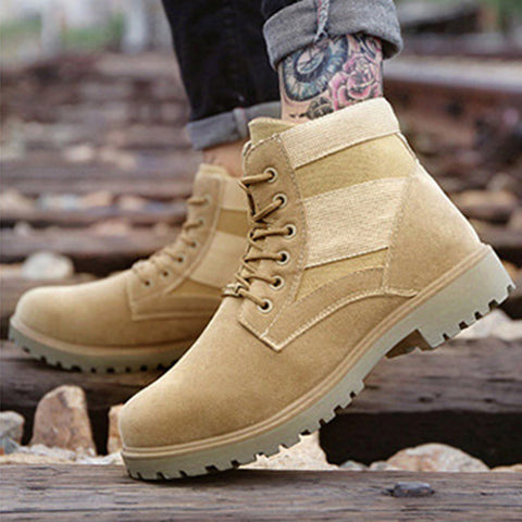 Men's Boots Lace-Up Ankle Boots Round Toe Shoes