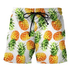 Creative Pineapple Printed Beach Shorts Men's Casual Swim Trunks