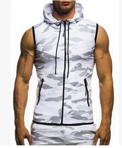 Men's Camouflage Round Hem Casual Sleeveless Hooded Vest