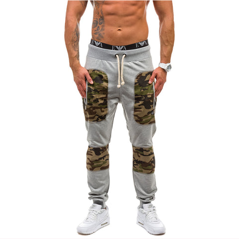 Camouflage Stitching Casual Pants Men's Fashion Sweatpants