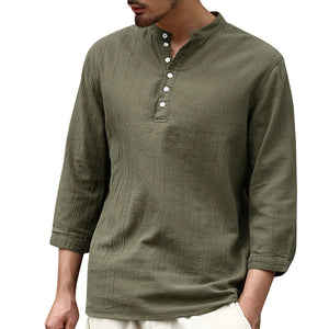 Casual Long Sleeve Cotton Buttons Design T-Shirt