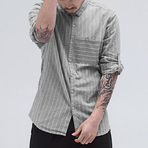 Mens Brief Fashion Striped Loose Fit Long Sleeve Single-breasted Casual Shirt