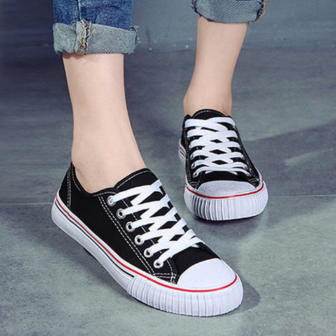 Pure Color Lace Up Casual Canvas Flat Shoes