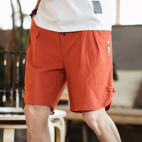 Fashion Button Shorts Large Size Men's Casual Elastic Waist Knee-Length Shorts