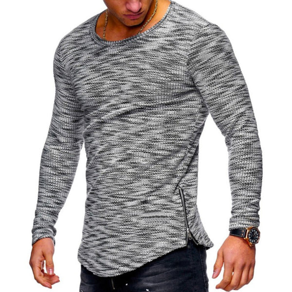 Jacquard O-Neck Slim Fit Casual T-Shirts