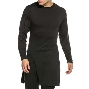 Black Casual Men'g  T-Shirts Round Neck Solid Color Tops