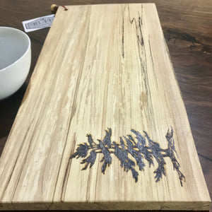 Maple Cutting Board With Wood burned Tree Accent