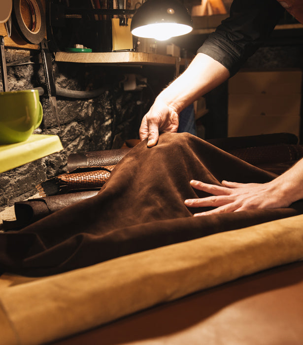 cutting and shaping the leather