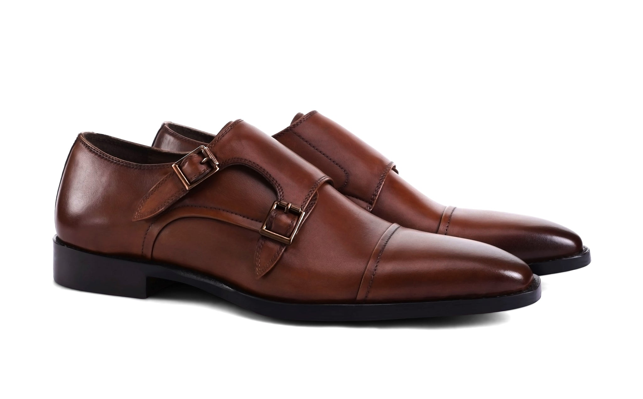 dark-tan-double-monk-shoes‎