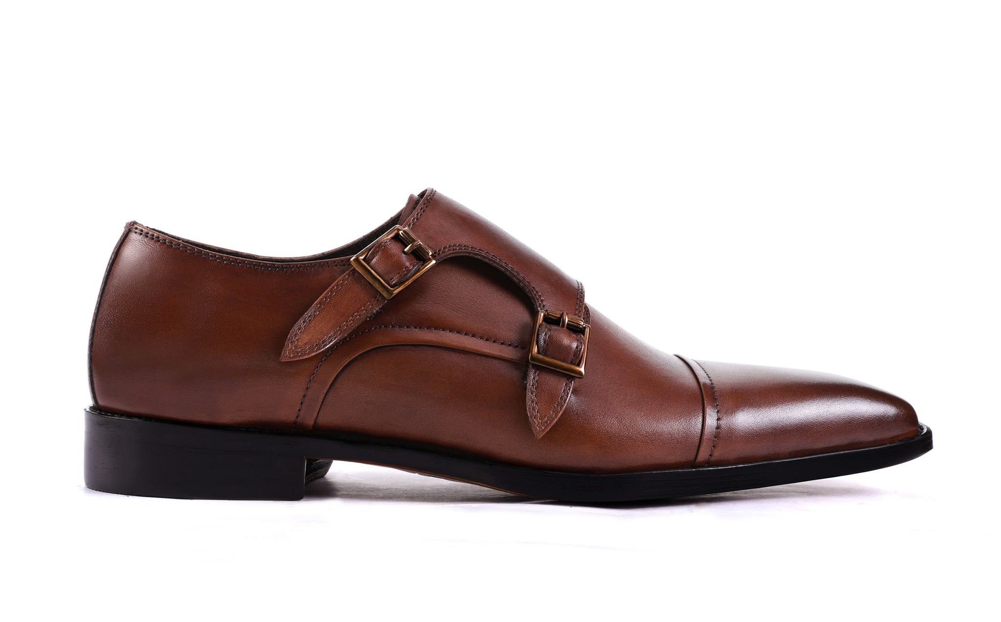 dark-tan-double-monk-strap-shoes‎