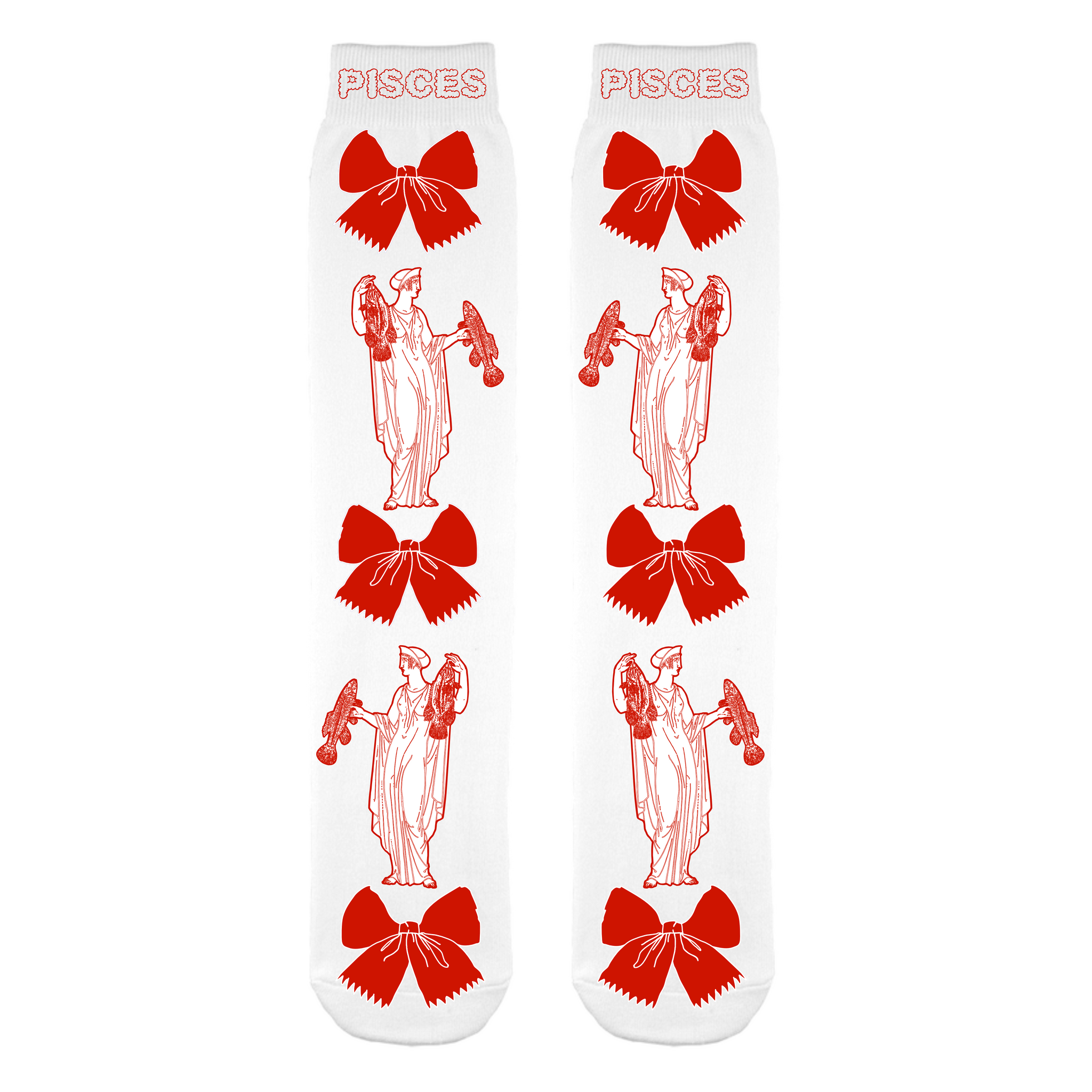 Pisces Red & White Socks