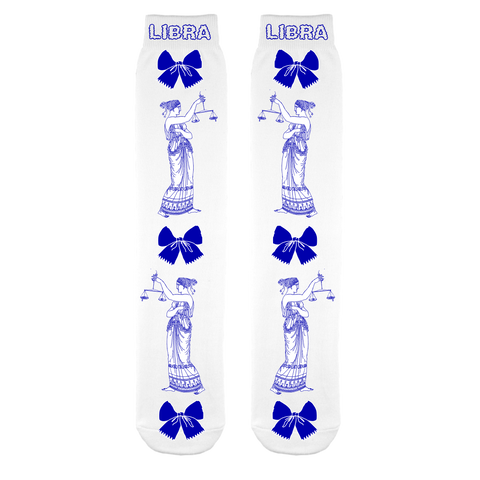 Libra Blue and White Socks