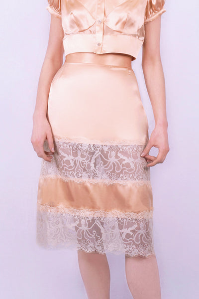 Prawn Pâté lace Skirt