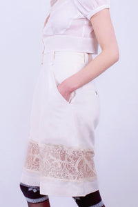 White Sand Beach Lace Suit Shorts