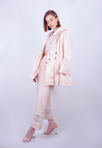 Powder Shell Pink Lace Suit Trousers