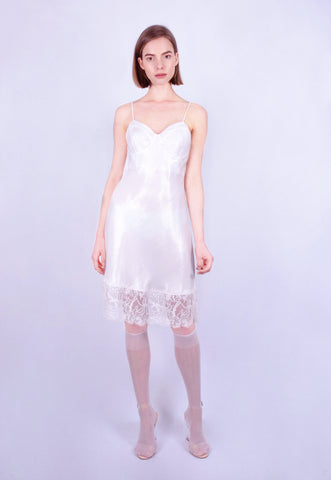 Pearl Shimmer Lace Slip Dress