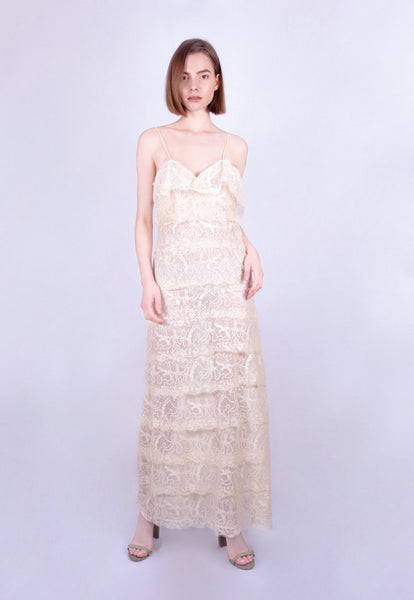 Sea Foam Tiered Lace Gown