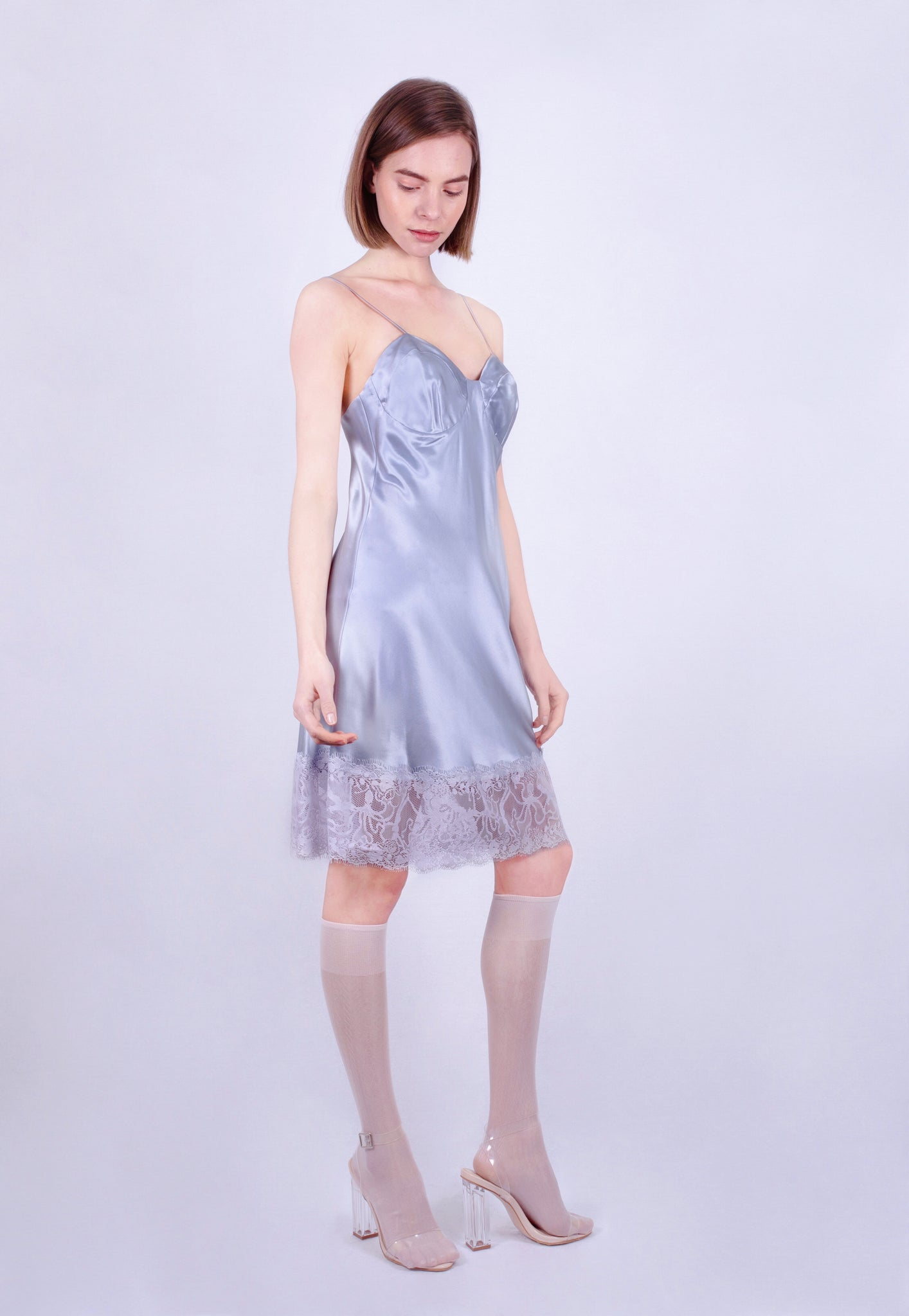 Stormy Ocean Lace Slip Dress