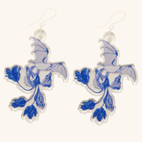 Toile de Jouy Fruit Bat Earrings