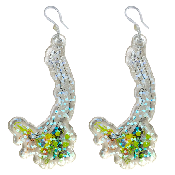 Pearl Diver Earrings with Holographic Sparkle