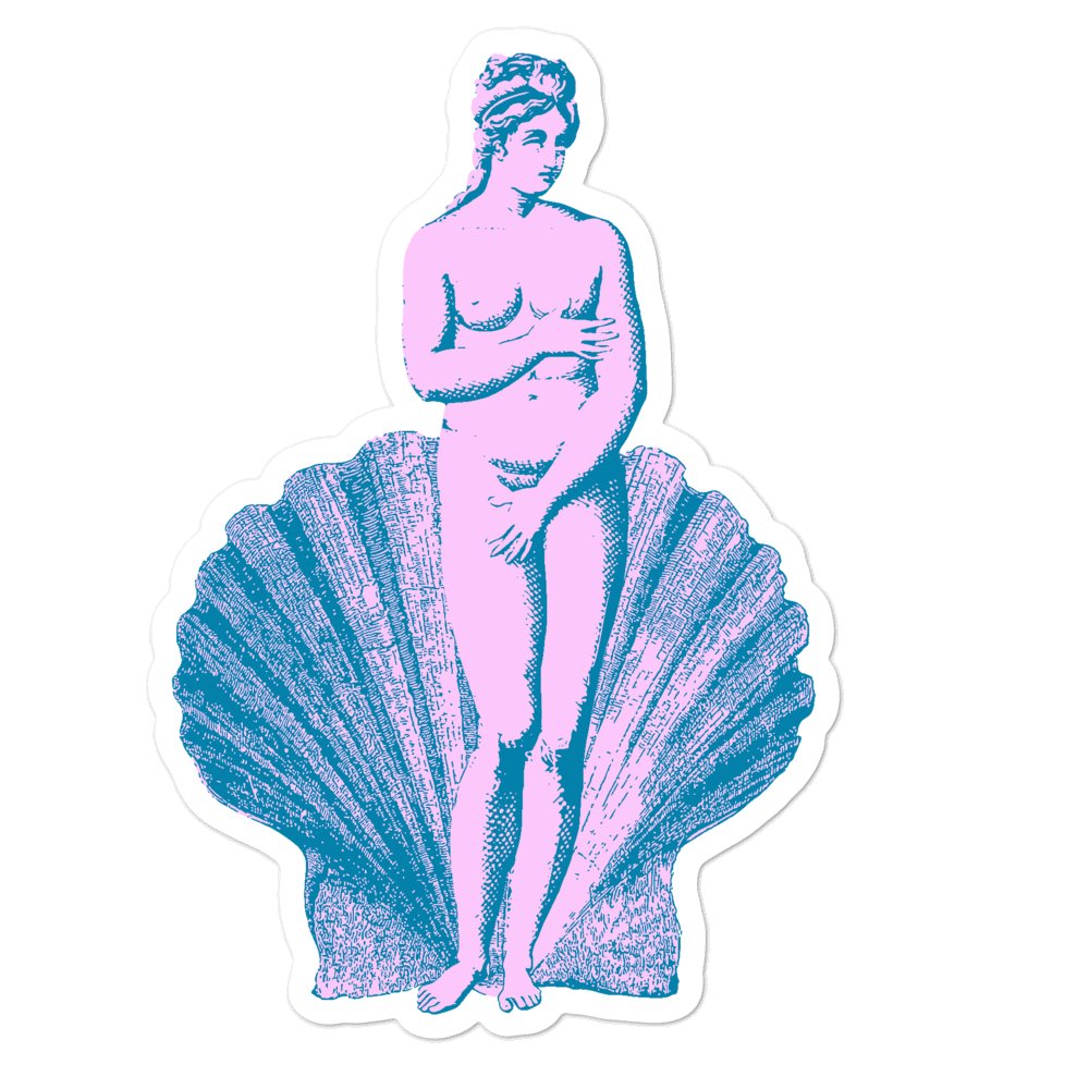 """Aphrodite & Her Shell"" Greek Goddess Vinyl Sticker"