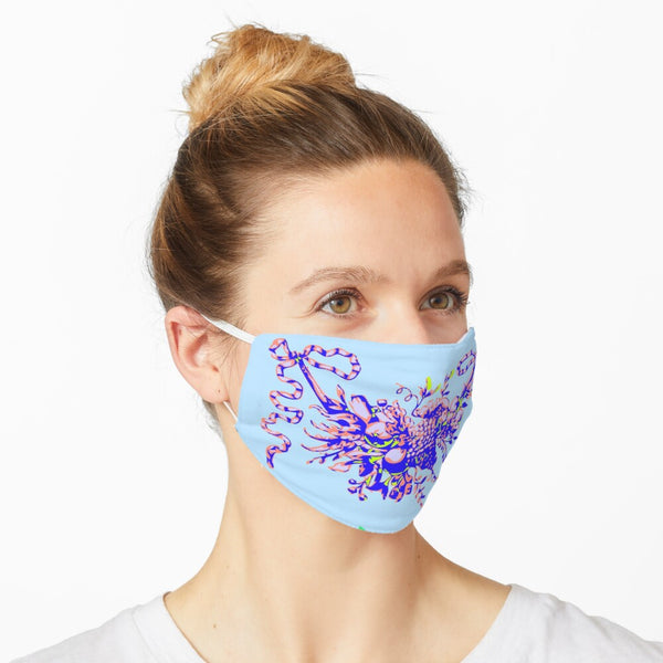 Blue Powder Fruit Garland Mask