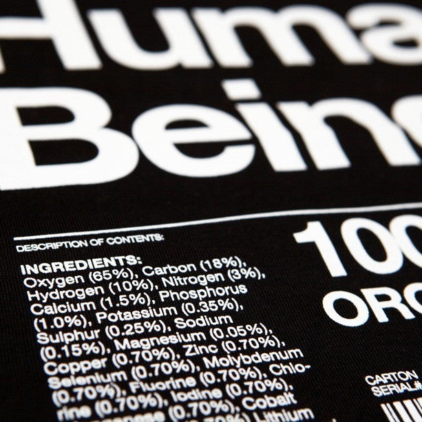 Organic Human Being Packaging t-shirt detail.