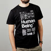 Mens organic Human Being Packaging t-shirt.