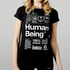 Womens organic Human Being Packaging t-shirt.