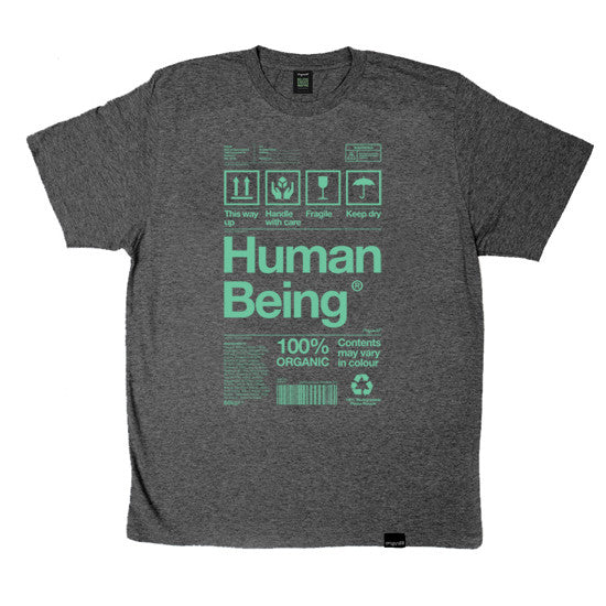 Human Being Packaging organic t-shirt in grey and green.