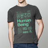 Mens organic Human Being Packaging t-shirt in grey and green.