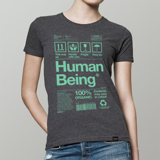 Womens organic Human Being Packaging t-shirt in grey and green.