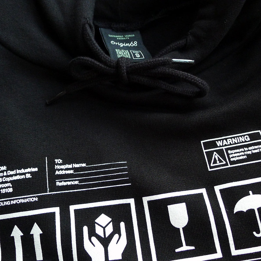 Organic Human Being Packaging hoody detail.