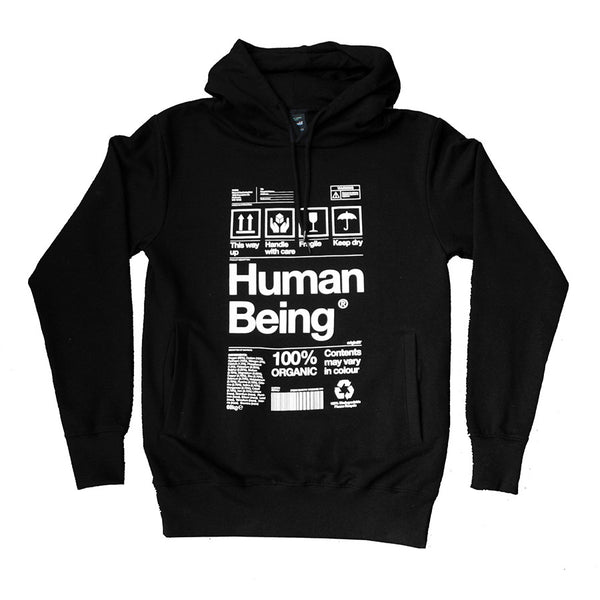 Organic Human Being Packaging hoody in black.