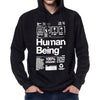 Mens organic Human Being Packaging hoody.