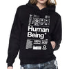 Womens organic Human Being Packaging hoody.