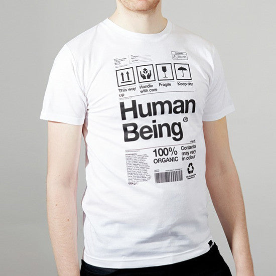 Mens Human Being Packaging organic t-shirt in white.