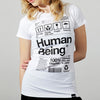 Womens Human Being Packaging organic t-shirt in white.