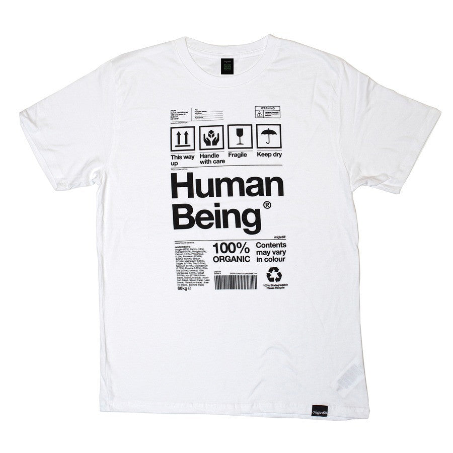 Human Being Packaging organic t-shirt in white.